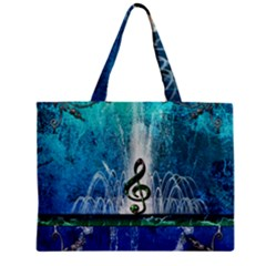 Clef With Water Splash And Floral Elements Zipper Tiny Tote Bags