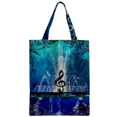 Clef With Water Splash And Floral Elements Zipper Classic Tote Bags