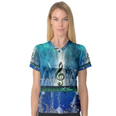 Clef With Water Splash And Floral Elements Women s V-Neck Sport Mesh Tee