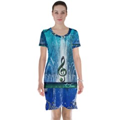 Clef With Water Splash And Floral Elements Short Sleeve Nightdresses
