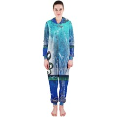 Clef With Water Splash And Floral Elements Hooded Jumpsuit (Ladies)