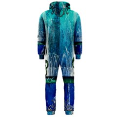 Clef With Water Splash And Floral Elements Hooded Jumpsuit (Men)