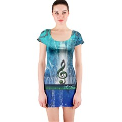 Clef With Water Splash And Floral Elements Short Sleeve Bodycon Dresses