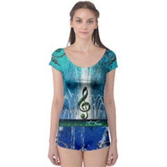 Clef With Water Splash And Floral Elements Short Sleeve Leotard