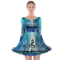Clef With Water Splash And Floral Elements Long Sleeve Skater Dress