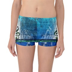 Clef With Water Splash And Floral Elements Boyleg Bikini Bottoms