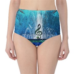 Clef With Water Splash And Floral Elements High-Waist Bikini Bottoms