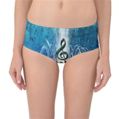 Clef With Water Splash And Floral Elements Mid-Waist Bikini Bottoms