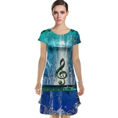 Clef With Water Splash And Floral Elements Cap Sleeve Nightdresses