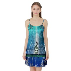 Clef With Water Splash And Floral Elements Satin Night Slip