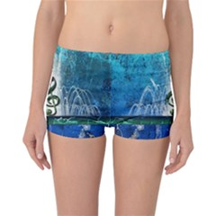 Clef With Water Splash And Floral Elements Reversible Boyleg Bikini Bottoms