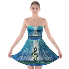 Clef With Water Splash And Floral Elements Strapless Bra Top Dress