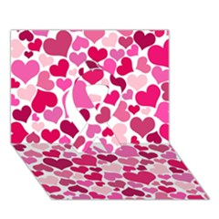 Heart 2014 0933 Ribbon 3d Greeting Card (7x5)