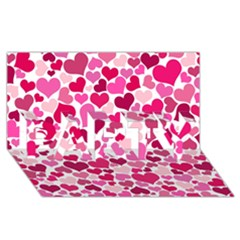 Heart 2014 0933 Party 3d Greeting Card (8x4)