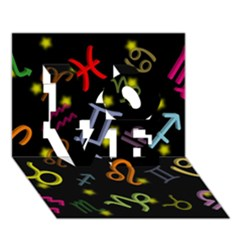All Floating Zodiac Signs LOVE 3D Greeting Card (7x5)