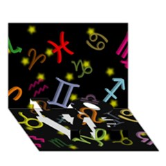 All Floating Zodiac Signs LOVE Bottom 3D Greeting Card (7x5)