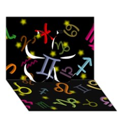 All Floating Zodiac Signs Clover 3D Greeting Card (7x5)