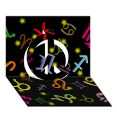 All Floating Zodiac Signs Peace Sign 3D Greeting Card (7x5)