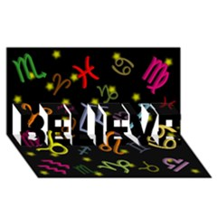 All Floating Zodiac Signs Believe 3d Greeting Card (8x4)