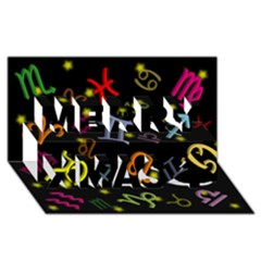 All Floating Zodiac Signs Merry Xmas 3D Greeting Card (8x4)