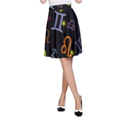 All Floating Zodiac Signs A-Line Skirts