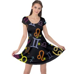 All Floating Zodiac Signs Cap Sleeve Dresses