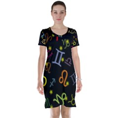 All Floating Zodiac Signs Short Sleeve Nightdresses