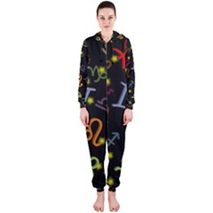 All Floating Zodiac Signs Hooded Jumpsuit (ladies)
