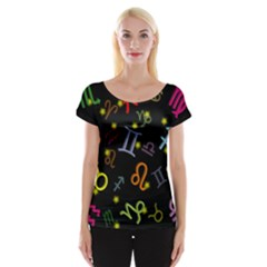 All Floating Zodiac Signs Women s Cap Sleeve Top