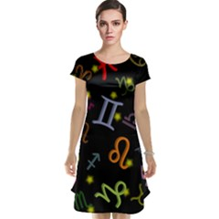 All Floating Zodiac Signs Cap Sleeve Nightdresses