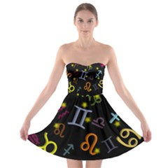 All Floating Zodiac Signs Strapless Bra Top Dress