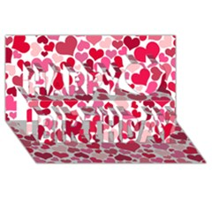 Heart 2014 0934 Happy Birthday 3d Greeting Card (8x4)