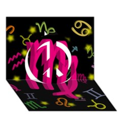 Virgo Floating Zodiac Sign Peace Sign 3d Greeting Card (7x5)
