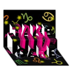 Virgo Floating Zodiac Sign TAKE CARE 3D Greeting Card (7x5)
