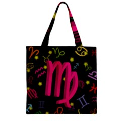 Virgo Floating Zodiac Sign Zipper Grocery Tote Bags