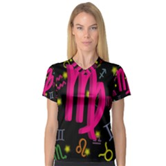 Virgo Floating Zodiac Sign Women s V-Neck Sport Mesh Tee