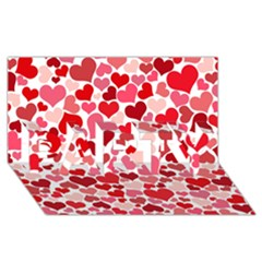 Heart 2014 0935 Party 3d Greeting Card (8x4)