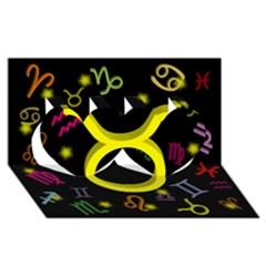 Taurus Floating Zodiac Sign Twin Hearts 3D Greeting Card (8x4)