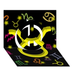 Taurus Floating Zodiac Sign Peace Sign 3d Greeting Card (7x5)