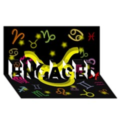 Taurus Floating Zodiac Sign Engaged 3d Greeting Card (8x4)