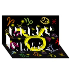 Taurus Floating Zodiac Sign Merry Xmas 3d Greeting Card (8x4)