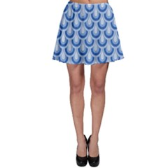Awesome Retro Pattern Blue Skater Skirts
