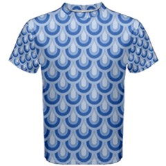 Awesome Retro Pattern Blue Men s Cotton Tees