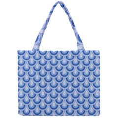 Awesome Retro Pattern Blue Tiny Tote Bags