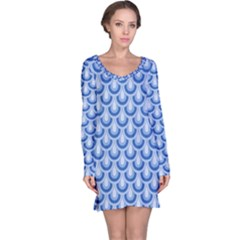 Awesome Retro Pattern Blue Long Sleeve Nightdresses
