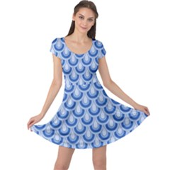 Awesome Retro Pattern Blue Cap Sleeve Dresses