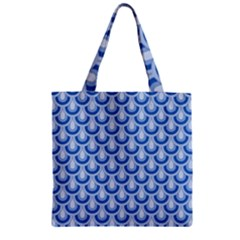 Awesome Retro Pattern Blue Zipper Grocery Tote Bags