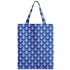 Awesome Retro Pattern Blue Zipper Classic Tote Bags