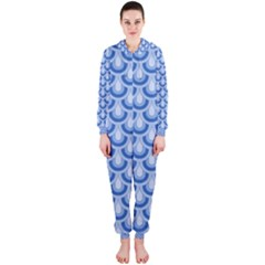 Awesome Retro Pattern Blue Hooded Jumpsuit (Ladies)