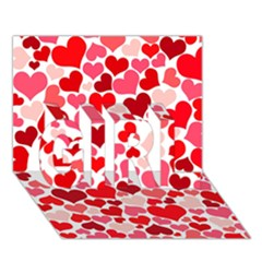 Heart 2014 0937 Girl 3d Greeting Card (7x5)